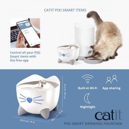 NEW! Catit PIXI Smart Drinking Water Fountain Stainless Steel with Remote Control App for Cat