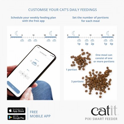NEW! Catit PIXI Smart Feeder Stainless Steel Dish with Remote Control App for Cat