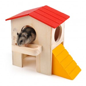 Small Animal Hideout Hamster House Two Layers Wooden Hut