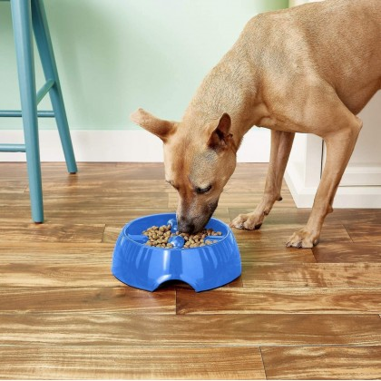 Dogit Go Slow Anti-Gulping Dog Dish, Slow Feeding Dog Bowl Suitable for Wet or Dry Food